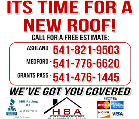 Ashland, Grants Pass & Medford Roofing Estimate
